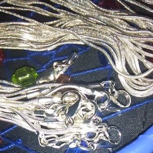 8 Silver Plated 1mm Snake Chain 24 in